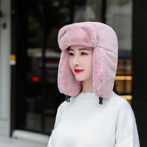 Brand New Женского Мужской искусственного мех Пушистого Ультра Теплого ветрозащитный Hat ухо лоскут зима плюш лыжной шапочка Bomber Шляпа