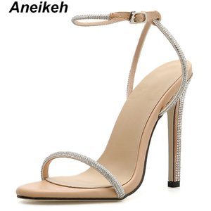 Aneikeh Summer 2019 Concise PU Women Heeled Sandals Ankle Buckle Strap Thin High Heels Round Toe Party Apricot Black Size 35-40 Y200702