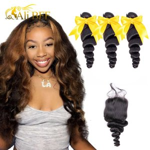 Human (For Black) Hair Bundles Closures Loose Wave Bundle Frontal Human Hair 3 Bundle With Lace Frontal Closure Remy