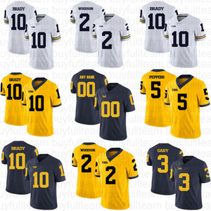 10 Tom Brady 5 Jabrill Peppers 2 Charles Woodson 3 Rashan Gary Jim Harbaugh Desmond Howard NCAA Michigan Wolverines Koleji Futbol Formalar