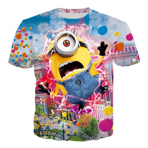 Anime Cute Minions T Shirt Harajuku Summer T Shirt Men Women 3D Print Cartoon Funny Casual Streetwear T Shirt Tops T129