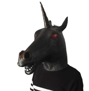 2019 Hot Funny Black Unicorn Mask Cabeza de caballo Máscaras Overhead Latex máscara campana animal Cosplay disfraces fiesta bar cosplay máscara juguetes