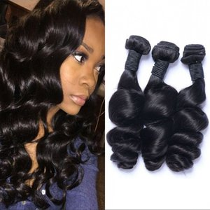 Indian Human Hair Extensions 3 Bundles Loose Wave Virgin Hair Weave Bundles 8-26 inch Double Weft