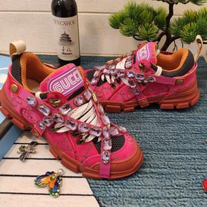 Hot grife de luxo sapatas dos homens sapatas das mulheres casal sneakers cristal removível sneakers série FlashTrek com cristal elástico removível