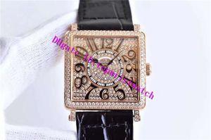 GF Factory Master Square 6002 женские часы розовое золото 18 карат бриллиант женские часы швейцарский кварцевый механизм сапфировое стекло Кожаный ремешок