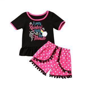 Летние детские наборы Sweet Rainbow Kids Baby Girls кисточки топы футболка кисточкой шорты брюки спортивная одежда девушки наряды одежда