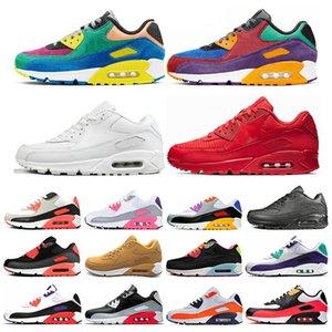Nike air max 90 Дешевле Новый  мужчин и женщин кроссовки черный красный белый спортивный тренер воздушной подушке поверхности дышащий спортивные мужские кроссовки обувь 36-46