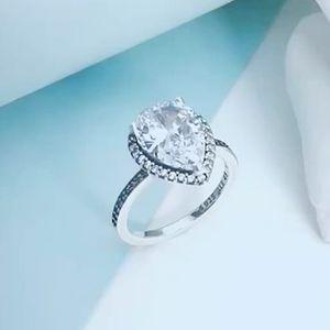 Большой CZ бриллиантовое обручальное кольцо высокое качество стерлингового серебра 925 пробы для Pandora игристые Teardrop Halo кольцо с оригинальной коробке женщин ювелирные изделия