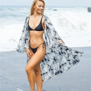 Beach Dresses Women 2020 Swim Cover Up Dress Woman Cover-Ups New Silk Black White Plaid Print Sun Proof Shirt Sexy Sling