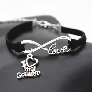 Lucky Silver Infinity Love I Heart My Soldier Подвеска Черный Кожаный Браслет-Строка Для Женщин Мужчины Дети Регулируемая Веревка Плетеные Ювелирные Подарки