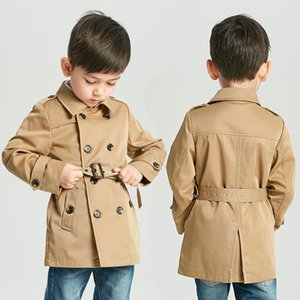 Baby Vintage Trench Coat Boy Girl Designer Clothes Windproof Jacket British Double Breasted Windbreaker Turn-down Collar Button Belt Kids