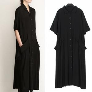 Chicever 2019 Zarif Siyah Kadınlar Yaz Elbise Gömlek Kısa Kollu Gevşek Büyük Boy Cep kadın Elbise Giyim Moda Rahat