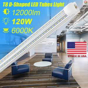 SUNWAY-USA , D Shaped V Shaped Integrated LED Tubes Light 4ft 8ft LED Tube T8 72W 120W triplex Sides Bulbs Shop Light Cooler Door Light