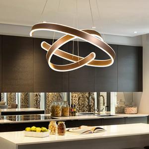 AC 90-264V Lampade a sospensione moderna da soggiorno sala da pranzo Geometria Circle anelli in alluminio acrilica corpo lampada principale del soffitto di illuminazione