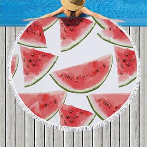 라운드 비치 타월 과일 마이크로 화이버 비치 담요 술 수영 타올 두꺼운 피크닉 매트 요가 매트 레몬 수박 (18)는 WZW-YW3652 디자인