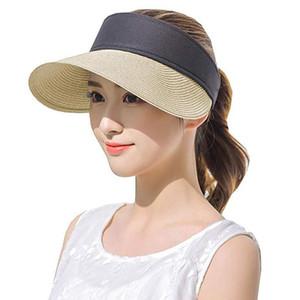 Kadın Erkek Yaz Şapka Straw Güneşlik Geniş Brim Hat Roll Up Geniş Brim UV Koruyucu Kore Güneşlik Aksesuarları @ 35