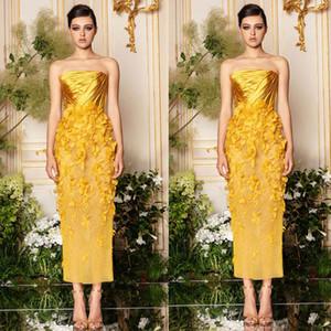 2020 Ramialali Yellow Prom Dresses Sexy Strapless 3D Flower Appliqued Vestidos de noche Hasta el tobillo Vestido de fiesta