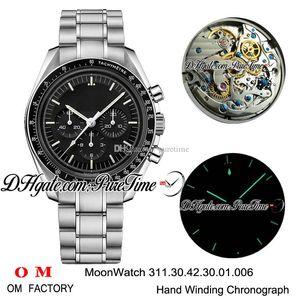 OMF Moonwatch Carga Manual del cronógrafo del reloj para hombre Zafiro Negro Dial pulsera de acero inoxidable Marcadores Stick 311.30.42.30.01.006 Puretime