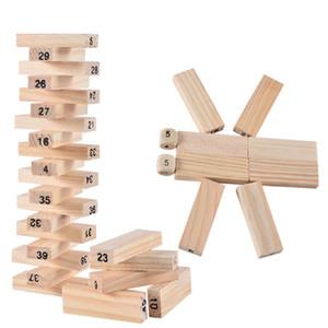 Junta Jenga Juego juego de la familia de madera 54pcs digitales de madera de apilamiento Tumbling Tower Blocks Beber juguete cabrito del regalo de Navidad Juego envío libre