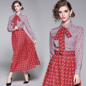 New Donne Designer Designer Dress Dress Dress Stampato Camicia a maniche lunghe + Skirt Vestito Dress Slim Plus Size Ladies Fashion Runway Due pezzi Set