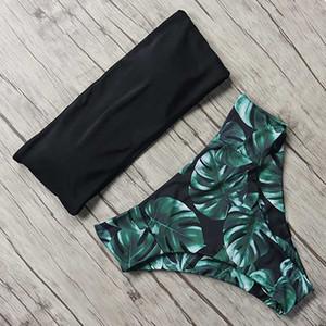 MOSHENGQI Sexy Floral Bikini Ensemble 2019 Maillot De Bain Mujer Taille Haute Maillot De Bain Noir Maillots De Bain Femmes Push-Up feuille Brésilien Biquini