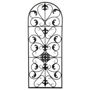 WACO Iron Sculpture Partition Screen, Spanish Arch Wall Art Victorian Style Indoor or Outdoor Ornament Retro Decorative Dividers Black
