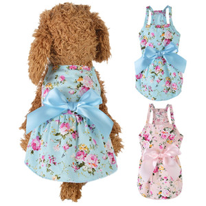 Summer Dog Dress Cotton Blue Sling Dog Skirt Bowknot Shirt Clothes Birthday Small Puppy Breathable Cool Dress For Dogs