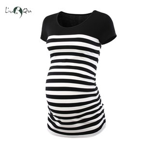 Women Striped Pregnant Short Sleeve T-Shirt Maternity Clothes Round Neck Color Block Maternity Tops Pregnant Clothes Side Ruched