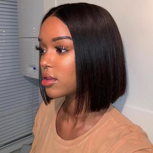 4x4 Closure Wig Short Bob Spitze-Front-Menschenhaar-Perücken für schwarze Frauen gerade Welle brasilianische Perücke Volle BUY ONE GET ONE FREE