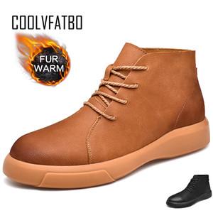 COOLVFATBO Hiver Hommes Bottines qualité Chaussures en cuir Réchauffez Bottes de neige pour hommes Chaussures d'hiver de Taille de fourrure Hommes 46