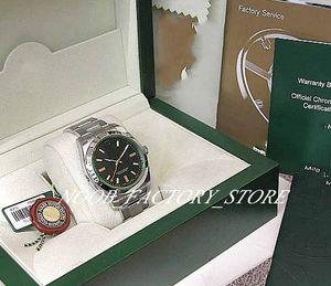 Новая фабрика продаж мужчины 2813 автоматическое движение 39 мм новых SS мужской зеленый сапфир # 116400GV с оригинальными коробками дайвинг мужчин часов смотреть часы