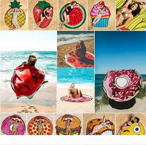 Round 3D Print Beach Towel Cute Food Fruit Pattern Printed Towel Donuts Hamburgers Shawl Scarf 10pcs OOA4704