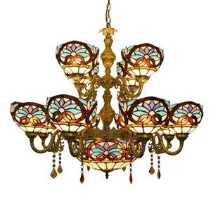 retrò europeo creativo Tiffany vetrate soggiorno sala da pranzo doppia Villa grande amore Lampadario barocco TF009