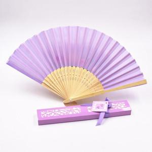 Silk Fan Fashion Silk Folding Hand Fans Dance Wedding Party Fold Fan Solid Color Fans Gift Paper Box Package Novelty GGA2581