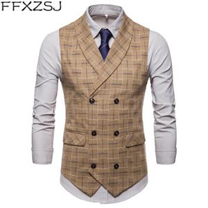 FFXZSJ 2019 de la nueva marca para hombre de la tela escocesa del juego del chaleco de la manera del partido 4XL 3XL vestido del chaleco de los hombres Inglaterra estilo casual de negocios chalecos grises Hombres
