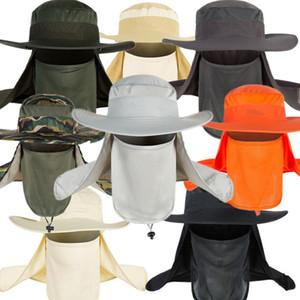 Pesca unisex sombrero visera casquillo al aire libre UPF 50 Protección de Sun con el oído desmontable Cuello Solapa cubierta de Senderismo