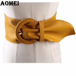 Moda mulheres cintos largos de couro para vestidos de blusa Buckle Ladies Ocidental Trending Design Preto Vermelho Amarelo Camel Belt Longo Y200428