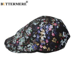 BUTTERMEREF Flat Cap для женщин Берут Hat натуральной кожи для печати Женских овчин кожи цветка британской ретро дама Зимнего BARET