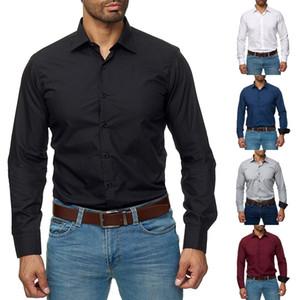 2019 uomini di modo Abito Camicia convenzionale Slim Fit T-shirt a manica lunga commerciali T-shirt S-3XL
