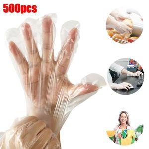 500pcs restaurante de cocina de limpieza transparente Cocinar plástico desechables Guantes Guantes universal Lavavajillas // Jardín