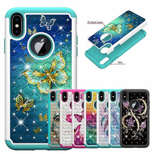 2 в 1 Кристалл Алмаз Сова цветок бабочка противоударный жесткий PC + TPU чехол для Iphone X XS Max XR 8 7 6 S Plus Galaxy S8 S9 Plus J3 J7 2018