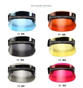 Unisexe Hommes Chapeau de soleil bonbons Couleur Transparent vide Haut plastique PVC Pare-soleil Chapeau Visor Caps vélo Chapeau de soleil