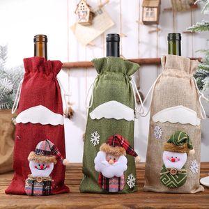 Творческие Мультфильм Новогодние украшения для вышивки Главная Burlap Ангел Старец бутылки вина Обложка Установить Рождественский подарок сумка Санта мешок 3 цвета