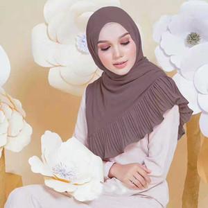 Этническая одежда Мусульманские женские шифоновые шарф головы тюрбан сплошной цвет рамадан абая кафтан мгновенный хиджаб арабские исламские длинные петли платки шали
