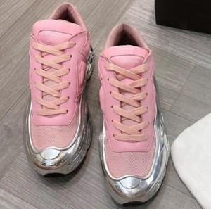Designer sapatos de grife Sneakers Raf Simons Oversized Sneaker Ozweego homens sapatos mulheres Luxo em vigor Silver Metallic Sole Esporte Traer c19