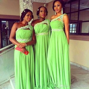 Elegant Green Chiffon Long Bridesmaid Dresses One Shoulder Lace Beaded Long Custom Made Bridemaids Prom Gown Wedding Party Dresses