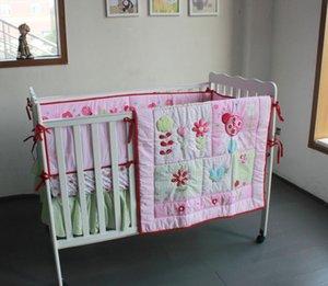 4pcs rose ladybirds Nursery Literie de bébé nouveau design couette, couverture, feuille CRIB, jupe crèche, pare-chocs
