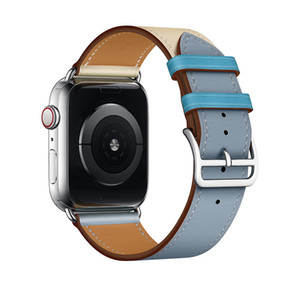 iWatch Series 5 4 3 2 için Paslanmaz Metal Clasp ile Apple Ürünü Gruplar 38/40 mm Gerçek Deri Kayış Yedek Watchband İçin