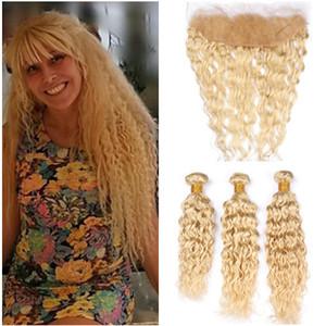 Cheveux Brésiliens blonds humides et ondulés n ° 613 tisse avec front 3Bundles eau de javel eau de Javel blonde trame de cheveux humains avec fermeture frontale en dentelle