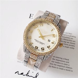 2020 Business Mens Diamond Watch masculino designer relógios Full diamond ring Pulso Relógio De Número Romano hora marcada